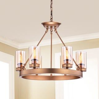 Viviana Bronze Amber Glass 6-light Cylinder Linear Chandelier