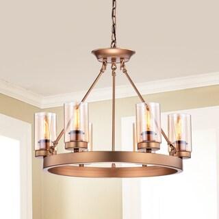 Viviana Bronze Amber Glass 6-light Cylinder Linear Chandelier
