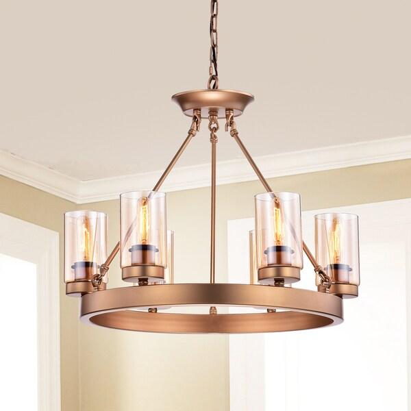 Shop viviana bronze amber glass 6 light cylinder linear chandelier viviana bronze amber glass 6 light cylinder linear chandelier aloadofball Images