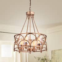 Viviana Bronze Amber Glass 4-light Cylinder Chandelier