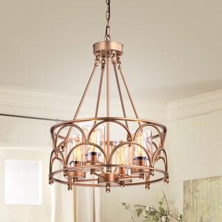 Viviana Bronze Amber Glass 4-light Cylinder Chandelier