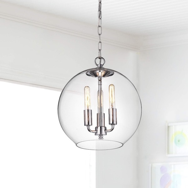 Luna Chrome Finish 3 Light Clear Glass Globe Iron Pendant Chandelier