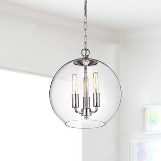 Luna Chrome Finish 3-Light Clear Glass Globe Iron Pendant Chandelier