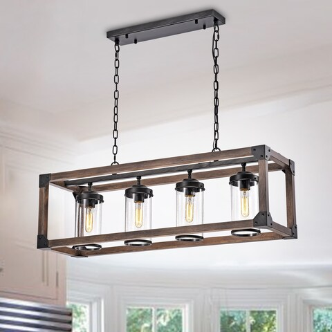 Daniela Chic Antique Black Metal and Wood Bubble Glass Cylinders Rectangular Pendant Chandelier
