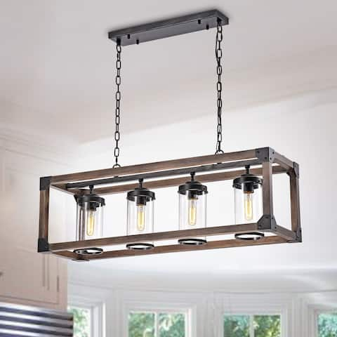 Daniela 4-Light Antique Black Metal and Wood Bubble Glass Chandelier