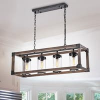 Daniela Antique Black Metal and Wood Bubble Glass Rectangular Pendant