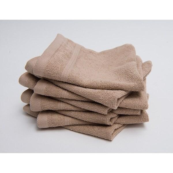 Berrnour Home Solomon Collection Beige Cotton Washcloth 13X13 Set of 8