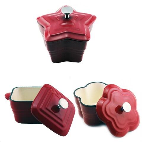 Mini Casserole 6pc Set Square, Blossom & Star, Red