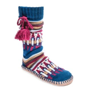 MUK LUKS Women's Slipper Socks with Poms|https://ak1.ostkcdn.com/images/products/17124655/P23392308.jpg?impolicy=medium