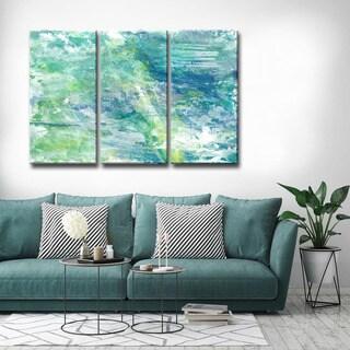 Max+E 'Cool Aqua Ocean Reef' 3 Piece Canvas Art Set