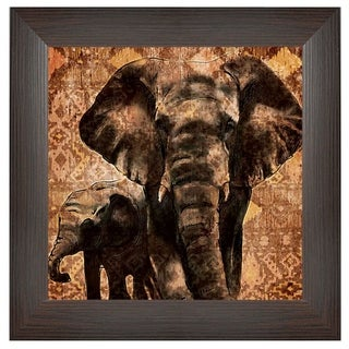 """""""Patterned Elephants"""" By Dee Dee, Printed Wall Art, Ready To Hang Framed Poster, Brown Frame"""