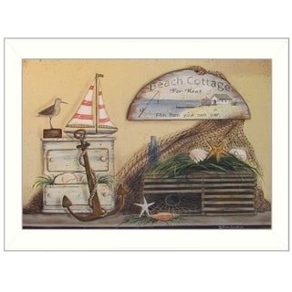 """""""Beach Cottage"""" by Pam Britton Printed Framed Wall Art"""