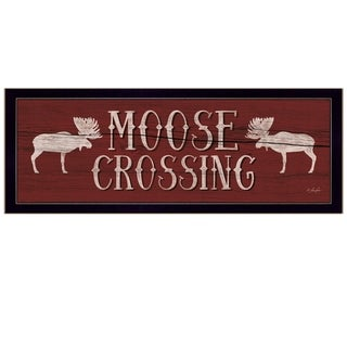 """Moose Crossing"" By Lauren Rader, Printed Wall Art, Ready To Hang Framed Poster, Black Frame"