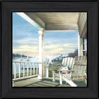"""""""Waiting on Sunset"""" By John Rossini, Printed Wall Art, Ready To Hang Framed Poster, Black Frame"""