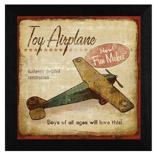 """Toy Airplane"" By Mollie B., Printed Wall Art, Ready To Hang Framed Poster, Black Frame"