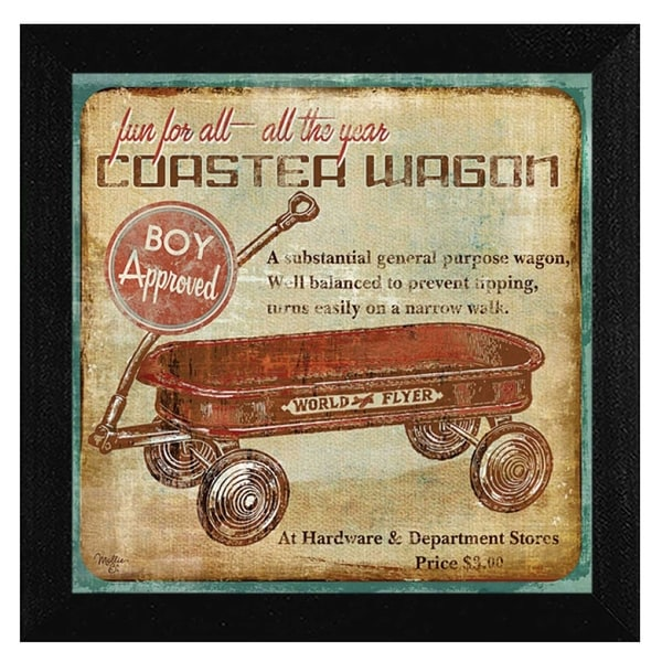 """Coaster Wagon"" By Mollie B., Printed Wall Art, Ready To Hang Framed Poster, Black Frame"