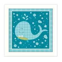 """Beetle and Bob Baby Whale"" By Annie LaPoint, Printed Wall Art, Ready To Hang Framed Poster, White Frame"