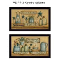 """Country Welcome"" Collection By Mary June, Printed Wall Art, Ready To Hang Framed Poster, Black Frame"