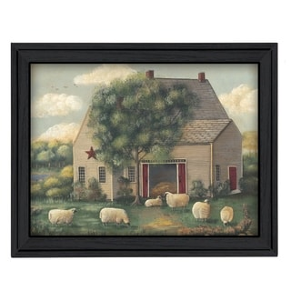 """""""Wooly Sheep"""" By Pam Britton, Printed Wall Art, Ready To Hang Framed Poster, Black Frame"""