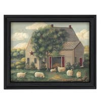 """Wooly Sheep"" By Pam Britton, Printed Wall Art, Ready To Hang Framed Poster, Black Frame"
