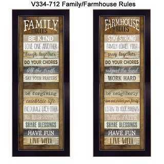 """""""Family/Farmhouse Rules Shutter"""" Collection By Marla Rae, Printed Wall Art, Ready To Hang Framed Poster, Black Frame"""