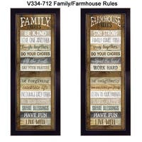 """Family/Farmhouse Rules Shutter"" Collection By Marla Rae, Printed Wall Art, Ready To Hang Framed Poster, Black Frame"