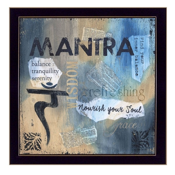 """Yoga Series - Mantra"" By Debbie DeWitt, Printed Wall Art, Ready To Hang Framed Poster, Black Frame"