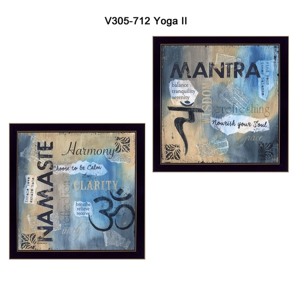 """""""Yoga II"""" Collection By Debbie DeWitt, Printed Wall Art, Ready To Hang Framed Poster, Black Frame"""