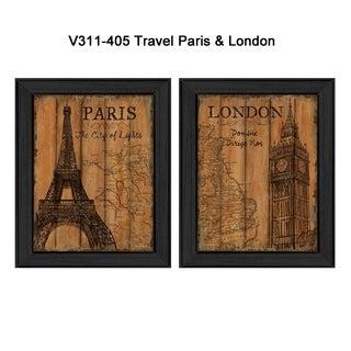 """Travel Paris & London"" by Debbie DeWitt Printed Framed Wall Art"