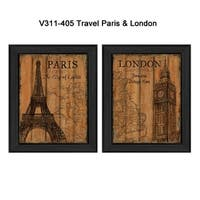 """""""Travel Paris and London"""" Collection By Debbie DeWitt, Printed Wall Art, Ready To Hang Framed Poster, Black Frame"""