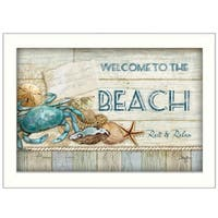 """Welcome to the Beach"" By Mollie B., Printed Wall Art, Ready To Hang Framed Poster, White Frame"