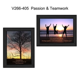 """Passion and Teamwork"" Collection By Trendy Decor4U, Printed Wall Art, Ready To Hang Framed Poster, Black Frame"