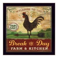 """""""Break of Day Rooster"""" By Mollie B., Printed Wall Art, Ready To Hang Framed Poster, Black Frame"""