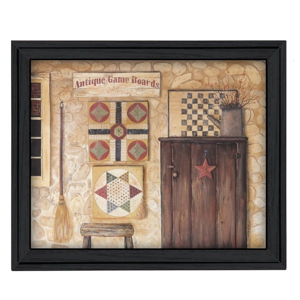 """Antique Game Boards"" By Pam Britton, Printed Wall Art, Ready To Hang Framed Poster, Black Frame"