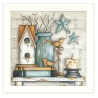 """Birdhouse on Books"" By Mary June, Printed Wall Art, Ready To Hang Framed Poster, White Frame"