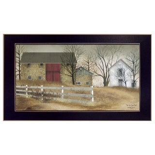 """""""The Old Stone Barn"""" By Billy Jacobs, Printed Wall Art, Ready To Hang Framed Poster, Black Frame"""