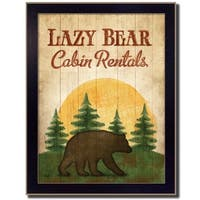 """Lazy Bear"" By Mollie B., Printed Wall Art, Ready To Hang Framed Poster, Black Frame"