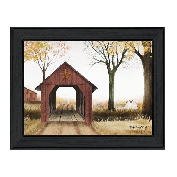"""Bucks County Bridge"" By Billy Jacobs, Printed Wall Art, Ready To Hang Framed Poster, Black Frame"