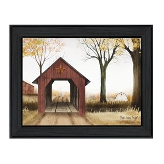 """""""Bucks County Bridge"""" By Billy Jacobs, Printed Wall Art, Ready To Hang Framed Poster, Black Frame"""