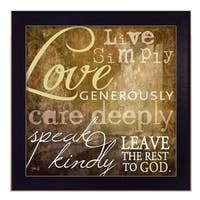 """Live Simply"" By Marla Rae, Printed Wall Art, Ready To Hang Framed Poster, Black Frame"