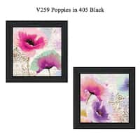 """Poppies"" Collection By Color Bakery, Printed Wall Art, Ready To Hang Framed Poster, Black Frame"
