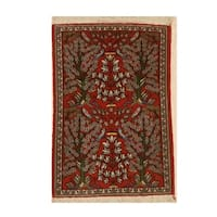Hand-knotted Wool Traditional Floral Kashan Rug - 1'11 x 2'10