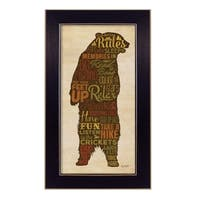 """""""Cabin rules"""" By Lauren Rader, Printed Wall Art, Ready To Hang Framed Poster, Black Frame"""
