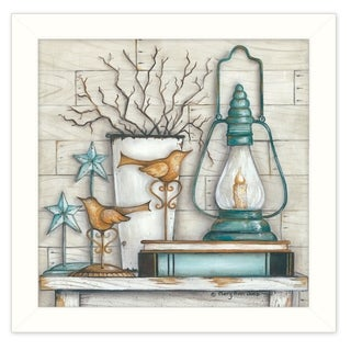 """Lantern on Books"" By Mary June, Printed Wall Art, Ready To Hang Framed Poster, White Frame"
