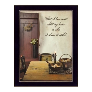 "BOY359 ""What I love Most"" is a 14""x18"" framed art print in a decorative black frame of the art of Susan Boyer."
