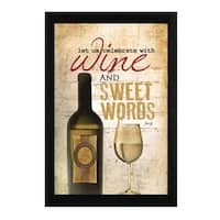 """""""Wine and Sweet Words"""" By Marla Rae, Printed Wall Art, Ready To Hang Framed Poster, Black Frame"""