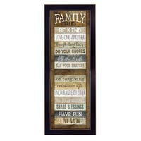"""Family Rules Shutter"" By Marla Rae, Printed Wall Art, Ready To Hang Framed Poster, Black Frame"