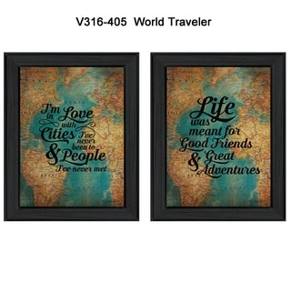 """""""World Traveler"""" Collection By Susan Ball, Printed Wall Art, Ready To Hang Framed Poster, Black Frame"""