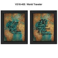 """World Traveler"" Collection By Susan Ball, Printed Wall Art, Ready To Hang Framed Poster, Black Frame"