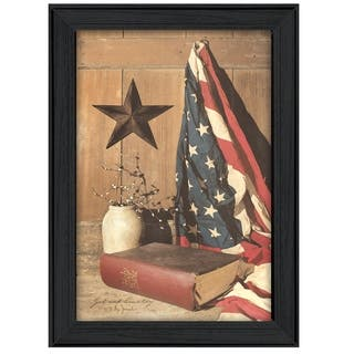 """""""God and Country"""" By Billy Jacobs, Printed Wall Art, Ready To Hang Framed Poster, Black Frame"""
